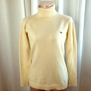 Lacoste Cream Merino Wool Turtleneck Sweater